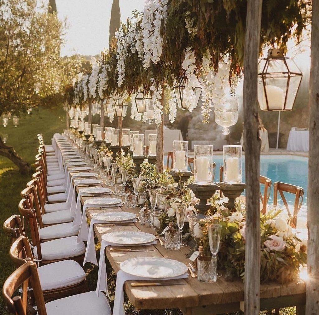 décoration extérieur mariage table